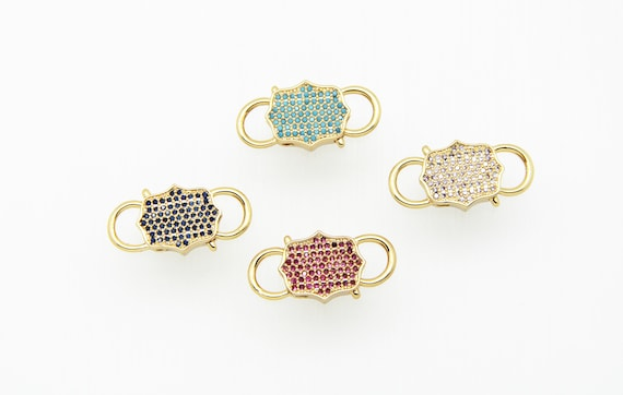 Color CZ Micro Pave 13x22mm Gold Plated Double Open Clasp