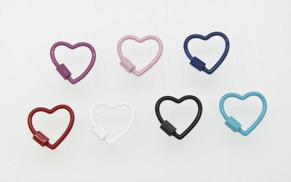 Enamel 22mm Heart Screw Clasp Carabiner