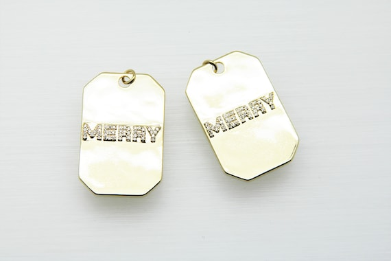 CZ Micro Pave 25x40mm MERRY Braille Pendant with CZ Bail