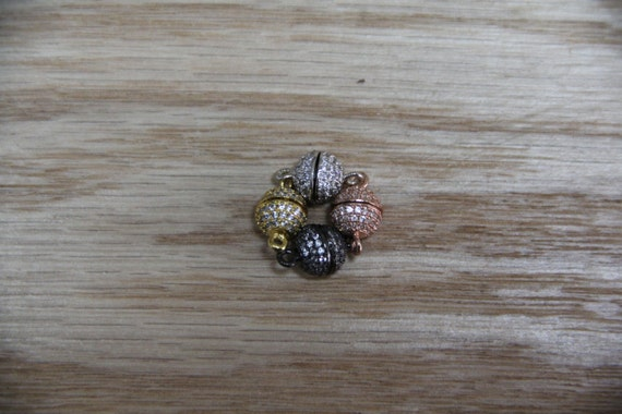 CZ Micro Pave 8mm Round Magnetic Clasp