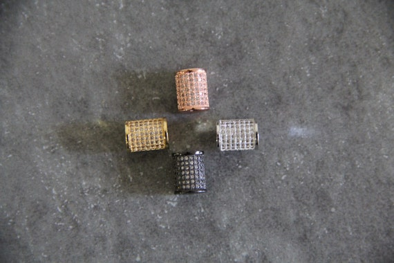 CZ Micro Pave 8x10mm Round Tube Beads