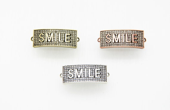 "CZ Micro Pave 13x31mm Antique Color Curved Rectangle Shape ""SMILE"" Connector with Hole"