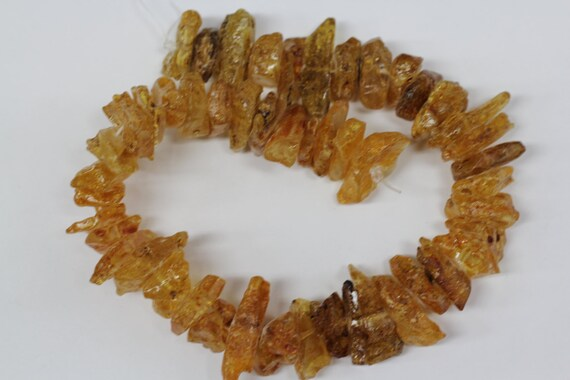 "Natural Baltic Amber large chips beads 16"" length strand"
