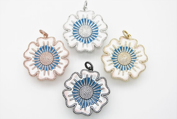 CZ Micro Pave Enamel 45mm Flower