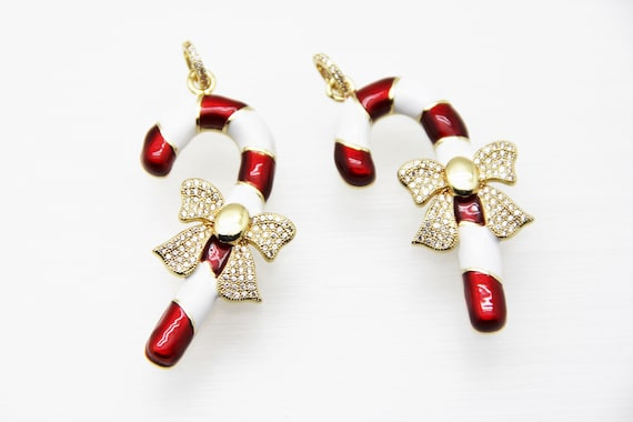 CZ Micro Pave Red & White Enamel 50mm Christmas Candy Stick Pendant