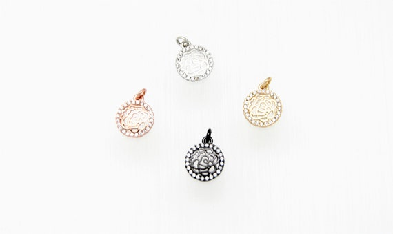 CZ Micro Pave 11mm Disc Flower Charm with Jump Ring