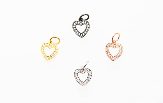 CZ Micro Pave 11mm Hollow Heart  Charm with Jump Ring