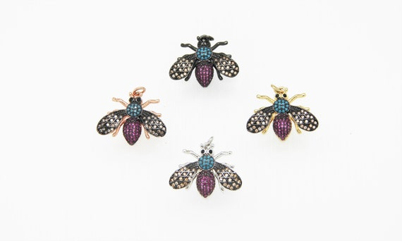 CZ Micro Pave 20x25mm Flying Insect Pendant