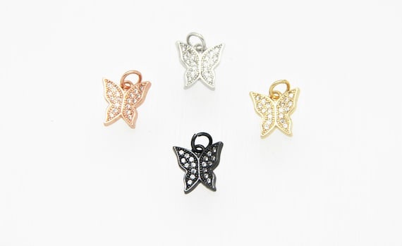 CZ Micro Pave 12mm BUtterfly  Charm with Jump Ring