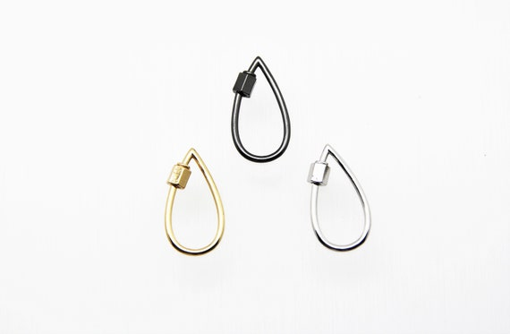 Plain Brass 16x30mm Teardrop Screw Clasp Carabiner