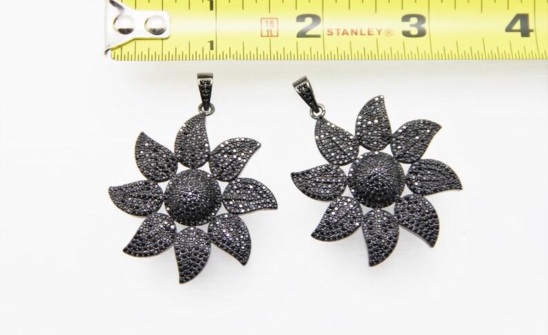 Black CZ Micro Pave 40mm 3D Flower Pendant With CZ Bail
