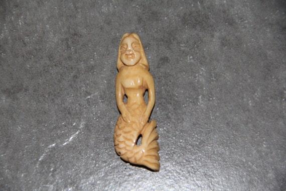 One Piece Buffalo Bone Carved Mermaid