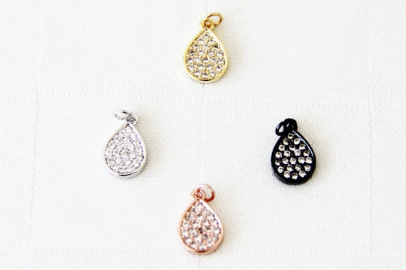CZ Micro Pave 8x10mm Teardrop  Charm with Jump Ring