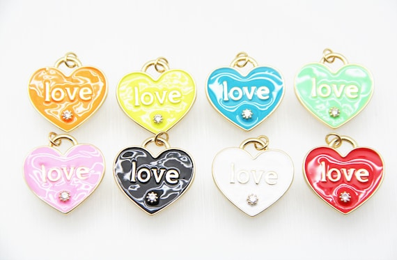 """CZ Micro Pave Enamel 25mm Heart With """"LOVE"""" Charm"""