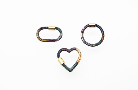 Mix Color CZ Micro Pave Circle, Heart, and Oval Screw Clasp Carabiner