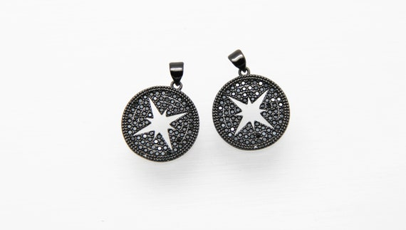 Black CZ Micro Pave 19mm  Disc With Hollow Star Pendant