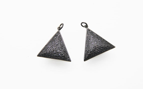 Black CZ Micro Pave 28mm  Triangle Pendant