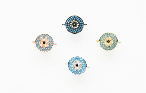 Turquoise Color CZ Micro Pave 12mm Coin Connector
