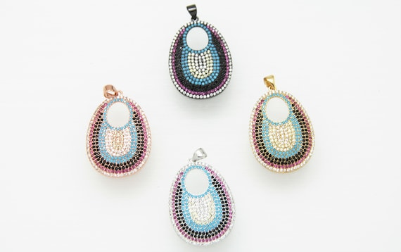 Mix Color CZ Micro Pave 24x30mm Teardrop Pendant