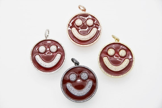 CZ Micro Pave Red Enamel 38mm Smiley Disc