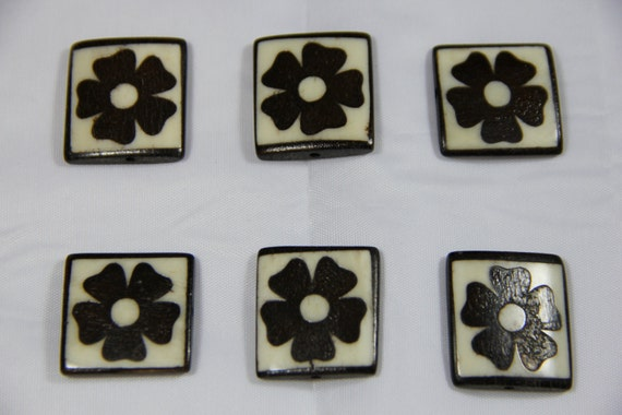 6 pcs Batik Bone Flower Rectangle Beads
