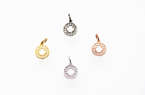 CZ Micro Pave 10mm Disc with Hollow Cross  Charm with Jump Ring