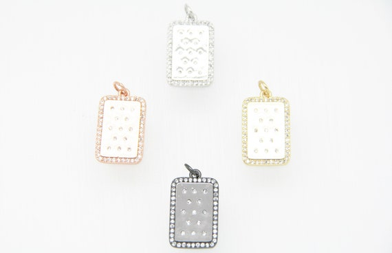CZ Micro Pave 14x20mm  Rectangle Tag Pendant