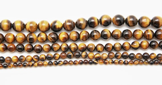 "Tiger Eye 4-12mm smooth round beads 16"" length full strand"