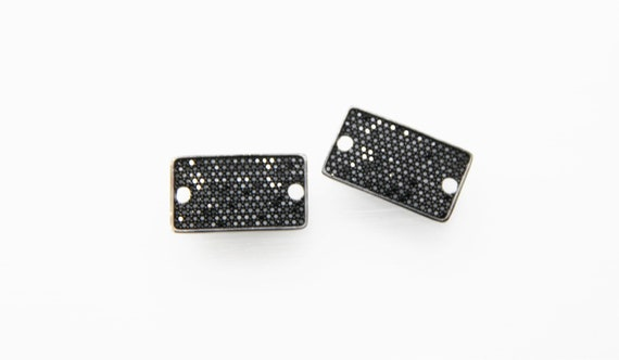 Black CZ Micro Pave 15x21mm Rectangle Shape Connector with Hole