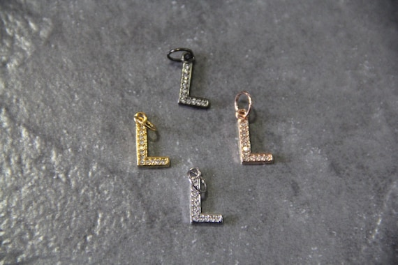 """CZ Micro Pave Letter """"L"""" Charm with Jump Ring"""