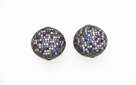 Mixed Color CZ Micro Pave 25mm Puffy Disc  Beads