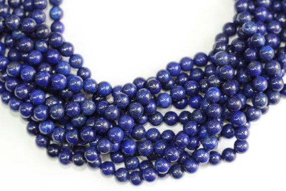 "Natural Lapis  8mm smooth round beads 16"" length strand"