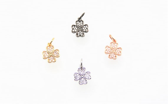 CZ Micro Pave 12mm Clover Charm with Jump Ring