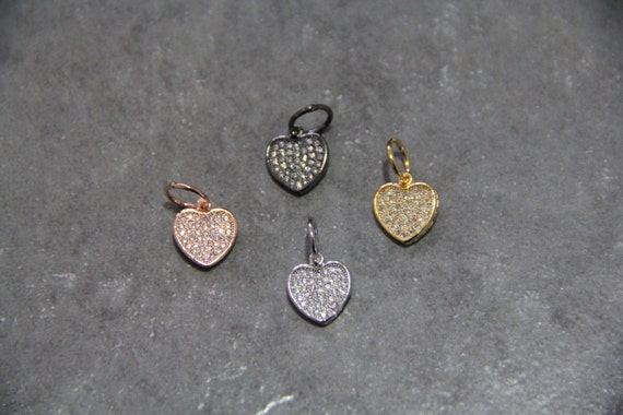 CZ Micro Pave 11mm Heart  Charm with Jump Ring