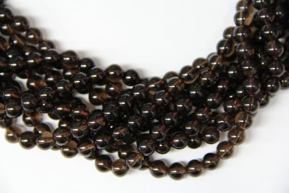 "Natural Smoky Quartz 8mm smooth round beads 16"" length strand"