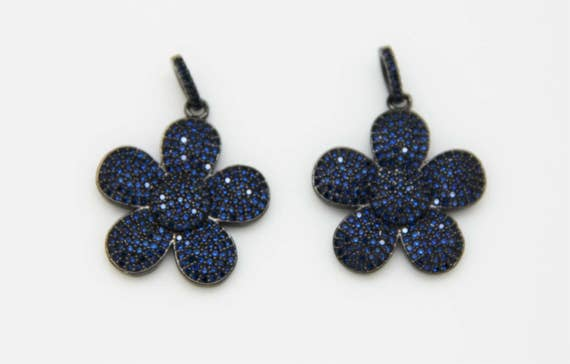 Sapphire CZ Micro Pave 25mm Flower Pendant With CZ Bail