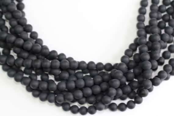 "Black Onyx Matt Finish 4-12mm smooth round beads 16"" length full strand"