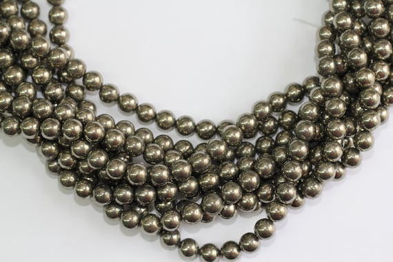 "Gold Pyrite 8mm smooth round beads 16"" length full strand"