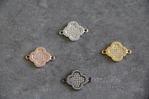 CZ Micro Pave 15mm Four Leaf Clover Connectors