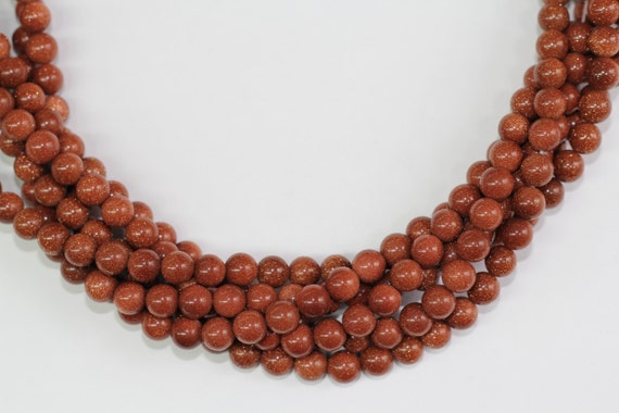 "Gold Sand Stone 8mm smooth round beads 16"" length full strand"