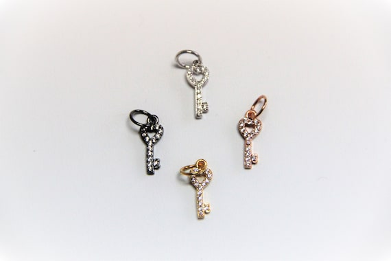 CZ Micro Pave 6x20mm Key  Charm with Jump Ring