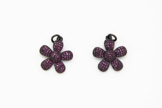 Ruby CZ Micro Pave 18mm Flower Pendant With CZ Bail