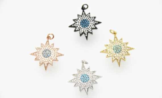 Turquoise Color CZ Micro Pave 25mm Starburst Pendant