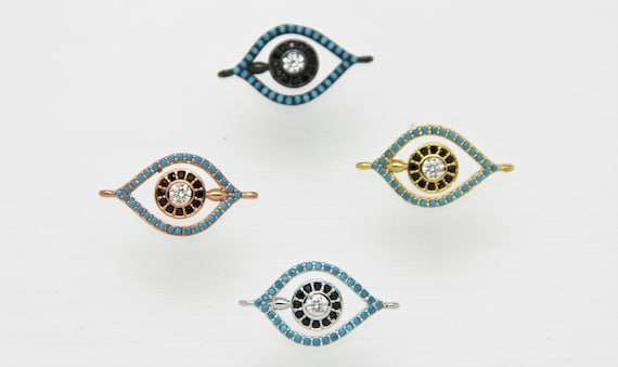 Turquoise Color CZ Micro Pave 12x18mm Evil Eye Connector