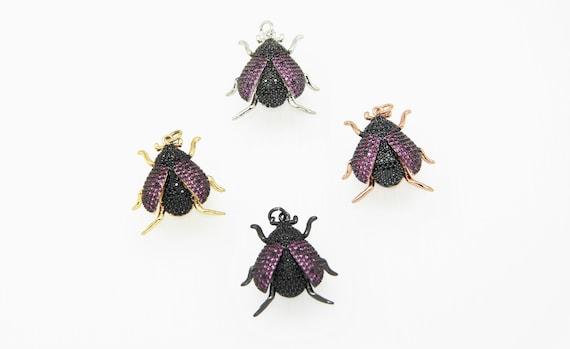 CZ Micro Pave 24x26mm Ladybug Pendant