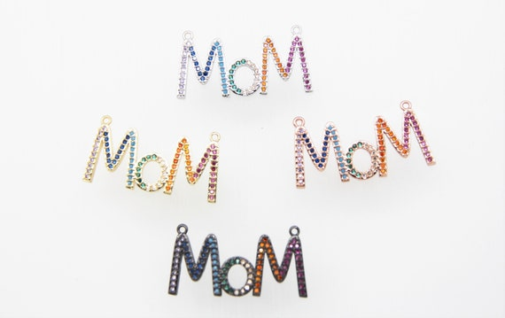 """Mixed Color CZ Micro Pave 18x35mm """"MOM"""" Connectors For Necklace"""