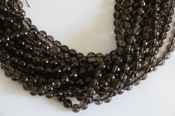 "Smoky Quartz 10mm faceted round beads 8"" length strand"