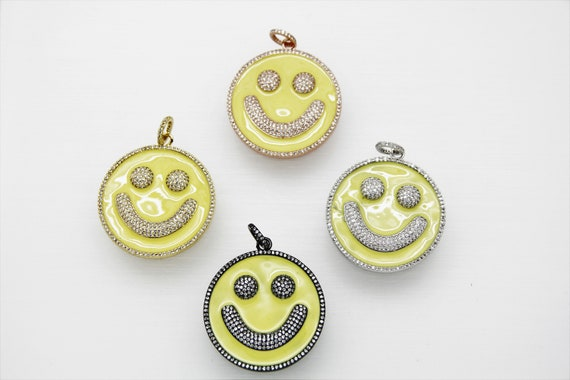 CZ Micro Pave Yellow Enamel 38mm Smiley Disc