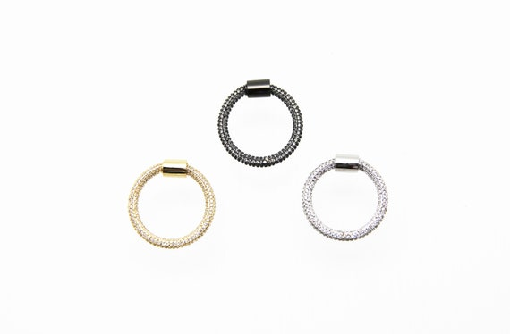 CZ Micro Pave 26mm Circle Screw Clasp Carabiner