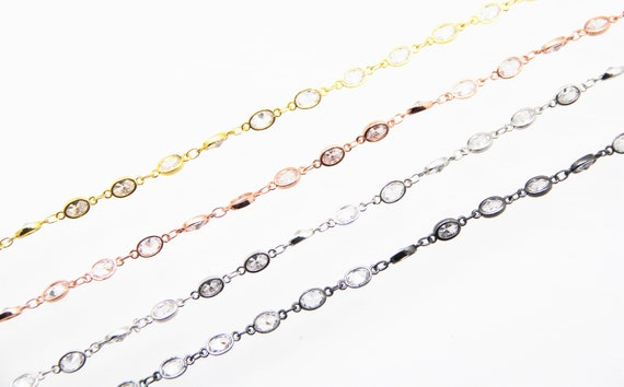 Cubic Zirconia 5x7mm Oval Bezel Brass Chain